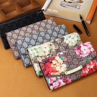 """Gucci"" Women Purse Retro Classic Double G Flower Print Long Section Three Fold Wallet Handbag"
