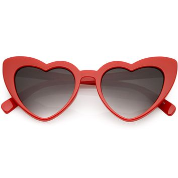 Women's Oversize Flat Lens Heart Shape Cat Eye Sunglasses C759