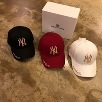 """Gucci x New York"" Women Casual Fashion Letter Embroidery Baseball Cap Flat Cap Sun Hat"