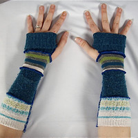 Sale OOAK Patchwork Upcycled Armwarmers, Fingerless Mittens / Gloves, Women's Upcycled Hippie Accesories, Recycled Sweaters, Long, Blue