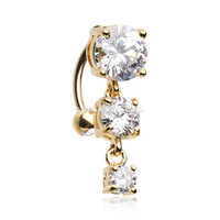 Golden Brilliant Sparkle Cascading Gem Reverse Belly Button Ring (Clear)
