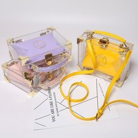 Candy color box package transparent crystal jelly Handbag