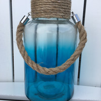 Sea Glass Fade Glass Hurricane Lanterns with Jute Rope Handle