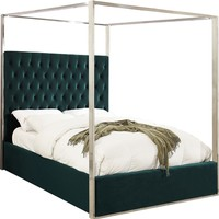 Porter Green Velvet Queen Bed