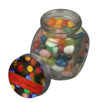 Multicolored Christmas lights. Add text or name. Glass Jars