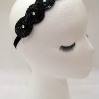 The Audrey - black 1920s headband, Great Gatsby style hair piece, 1920s costume party, rhinestone headpiece, black beaded headband