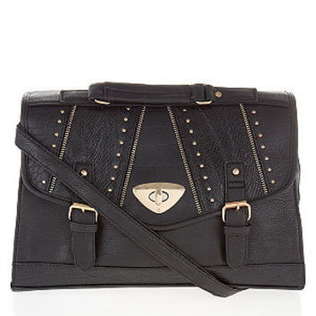 Black Zip Edge Stud Envelope Satchel