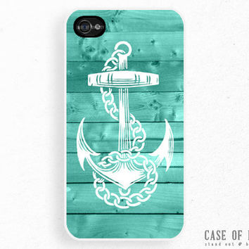 iPhone 5 4 Anchor Case - Nautical Sailor Sea Wood  - Samsung Galaxy s3, ipod touch - Mint Tiffany Blue Green white -NC