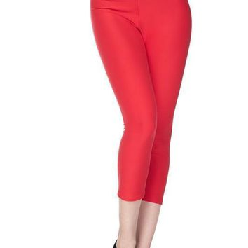 Deluxe Solid Capri Leggings with 3 Inch Waistband in Red and Navy