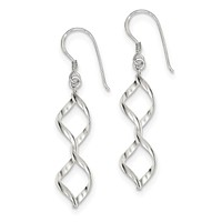 Sterling Silver Fancy Twist Dangle Earrings