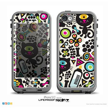 The Cute, Colorful One-Eyed Cats Pattern Skin for the iPhone 5c nüüd LifeProof Case
