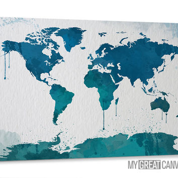 Large Wall Art Canvas Turquoise and Blue Watercolor World Map with Ink Infiltration Prints - Colorful Watercolor WORLD MAP Canvas