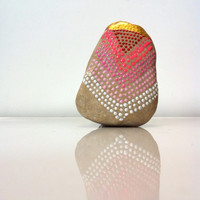 Hand Painted River Stone, Chevron Painted Rock, Decorative Stones, Garden Stones, Acrylic Gold Dipped Stones,Red Ombre dots, Pointillism Art