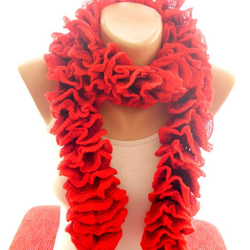 Crochet lariat ruffle scarf, crochet accessories, fashion scarf, new trend,jewellery