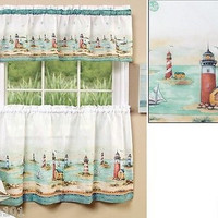 """3 Piece Nautical Lighthouses Kitchen Curtain Set With Valance and 36 """"L Tiers"""