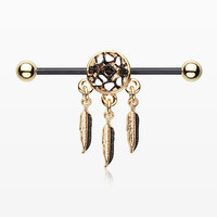 Golden Black Dreamcatcher Industrial Barbell