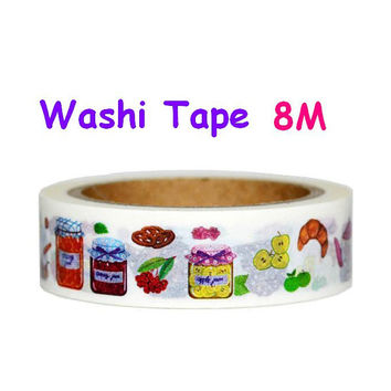Jam washi tape jam and jelly jam jar washi tape handmade colorful jam Croissant tea time breakfast tape sticker kids chef menu label icon