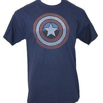 Captain America - Classic Distressed Cap Shield Logo Mens T-Shirt