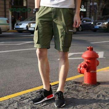 ONETOW TAPOO 2018 Spring Summer Shorts Men Cargo Shorts Knee Length Loose Cotton Mens Short Mid-waist Boardshort Men Elastic Waist