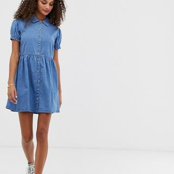 ASOS DESIGN denim mini shirt dress with collar in blue | ASOS