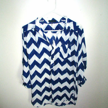 Chevron Half Sleeve Button  Up Blouse (Small/Indie Brands)