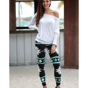 Stretch Print Fashion Leggings [6259185988]