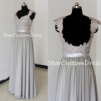 Grey Long Lace Prom Dress A-line Chiffon Dress With cap sleeves and open back Bridesmaid Dress