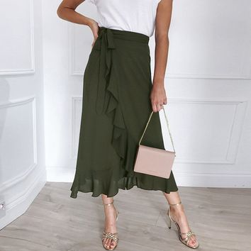Midi Skirts Summer Style Skirt Women Daily Bohemia High Waist Soild Ruffle Beach Wrap Femme Faldas Mujer Women's Skirt