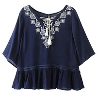 Navy Embroidery Detail Tie Front Ruffle Blouse