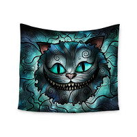 "Mandie Manzano ""Mad Chesire"" Teal Cat Wall Tapestry"