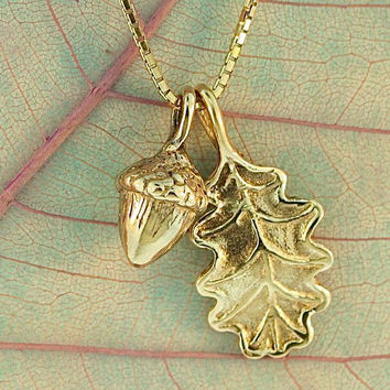 Gold Necklace - Leaf Charm - Oak Leaf and Acorn Charms - 14k Gold Pendant