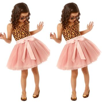 Feast Baby Girls Dress Party Lepord Lace Tulle Tutu Gown Formal Dresses US Stock