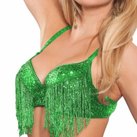 Green Fringed Rave Bra