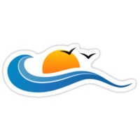 Sun and wave with birds, sticker