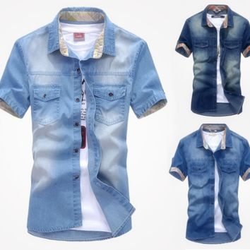 New fashion Men's Jeans Casual Slim Fit Stylish Wash-Vintage Denim Shirts [10312511811]