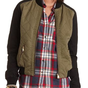 Quilted Color Block Baseball Jacket