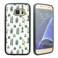 Samsung Galaxy S5 S6 S7 Case Cover Watercolour Cacti and Succulent Rubber Case
