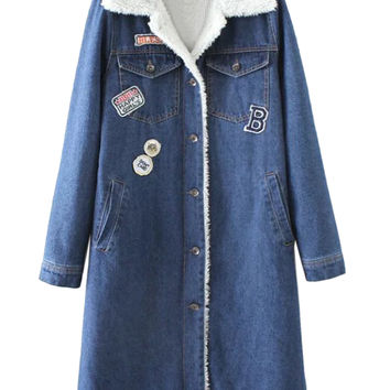 Denim Blue Patches Detail Faux Shearling Lining Longline Denim Jacket