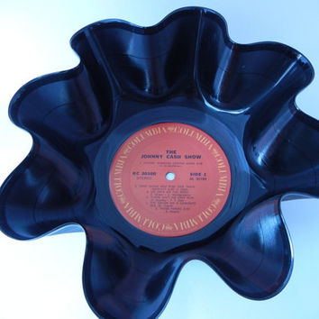 "JOHNNY CASH Recycled Record Bowl ""The Johnny Cash Show"" by recordsandstuff"