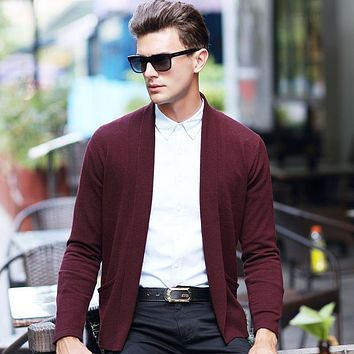 High Quality Autumn & Winter Mens Pure Wool Cardigan Fashion Solid Color Clothing 100% Wool Knitted Sweater Outerwear