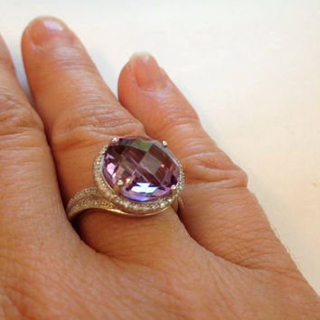 Vintage Amethyst Ring Diamond Sterling Silver Band Purple Genuine Gemstone Checkerboard Amethyst Ring Antique Estate Spring Summer Jewelry