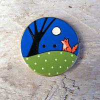 Fox and Moon - Wood Sewing Button -  38 mm, Large Button - Knitting, Crochet, Sewing, Craft, Supplies