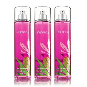 3 PACK Bath & Body Works PLUMERIA Fragrance Mist 8 fl oz