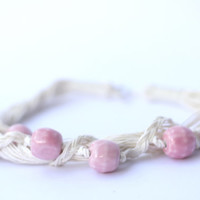 Powder Pink Ceramic Linen Necklace