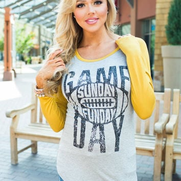 Game Day Sunday Funday Top Mustard