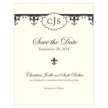 Fleur De Lis Save The Date Card Berry (Pack of 1)