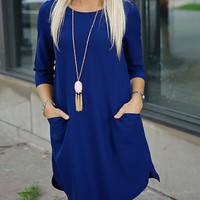 Blue Dress with Pockets and Half Sleeves