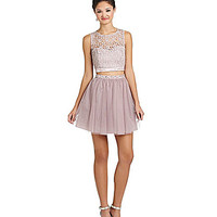 Sequin Hearts Daisy Lace to Mesh 2-Piece Dress - Champagne