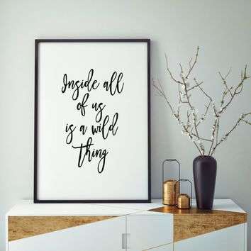 Baby Room Inside All Of Us Is A Wild Thing Printable Art Print Nursery Print Wall art Nursery Playroom Where the Wild Things Are Monster
