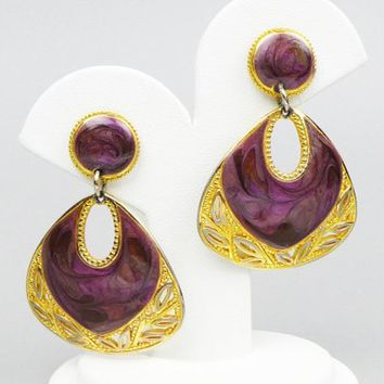 "Edgar Berebi Purple and Gold Dangle Pierced Post Earrings, 2"" Long, Goldtone Metal, Purple Swirled Enamel, Openwork Leaf Design at Bottom"
